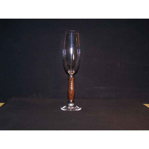 Crystal Champagne Flute on Wenge Wood Base - Zouf.biz