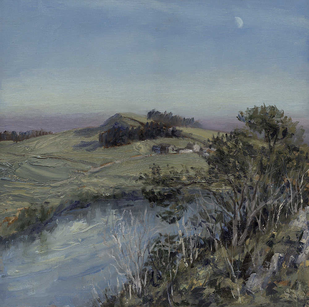 Hadrian's Wall, Moon Rising over Crag Lough. (Print)