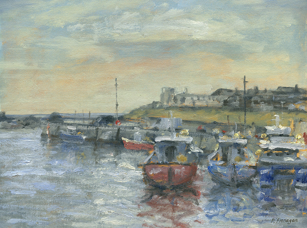 Moored Boats, Seahouses. (at the Wallington Gallery)