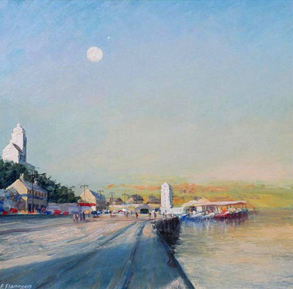 Fish Quay, Moon and Jupiter Rising. (Print)