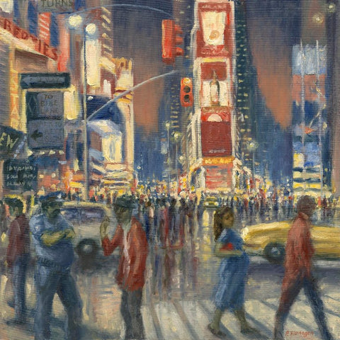 New York, Crossing Times Square. (Print)