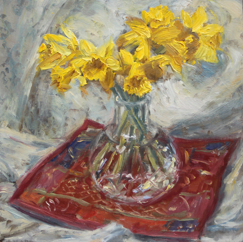 Daffodils on an Indian Mat