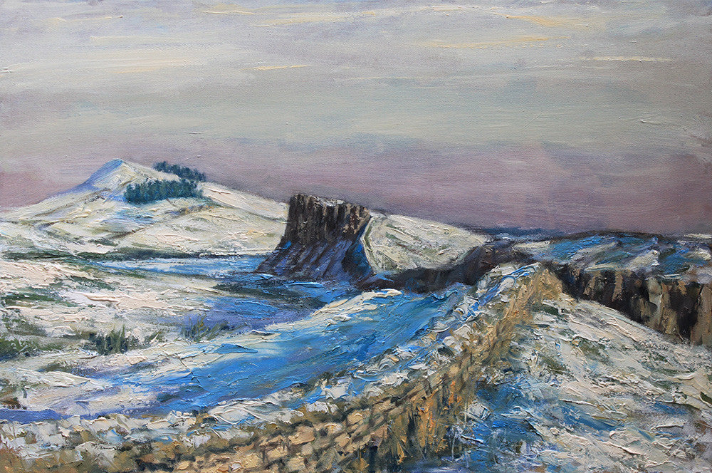 Hadrians Wall in Snow from Steel Rigg. (Print)