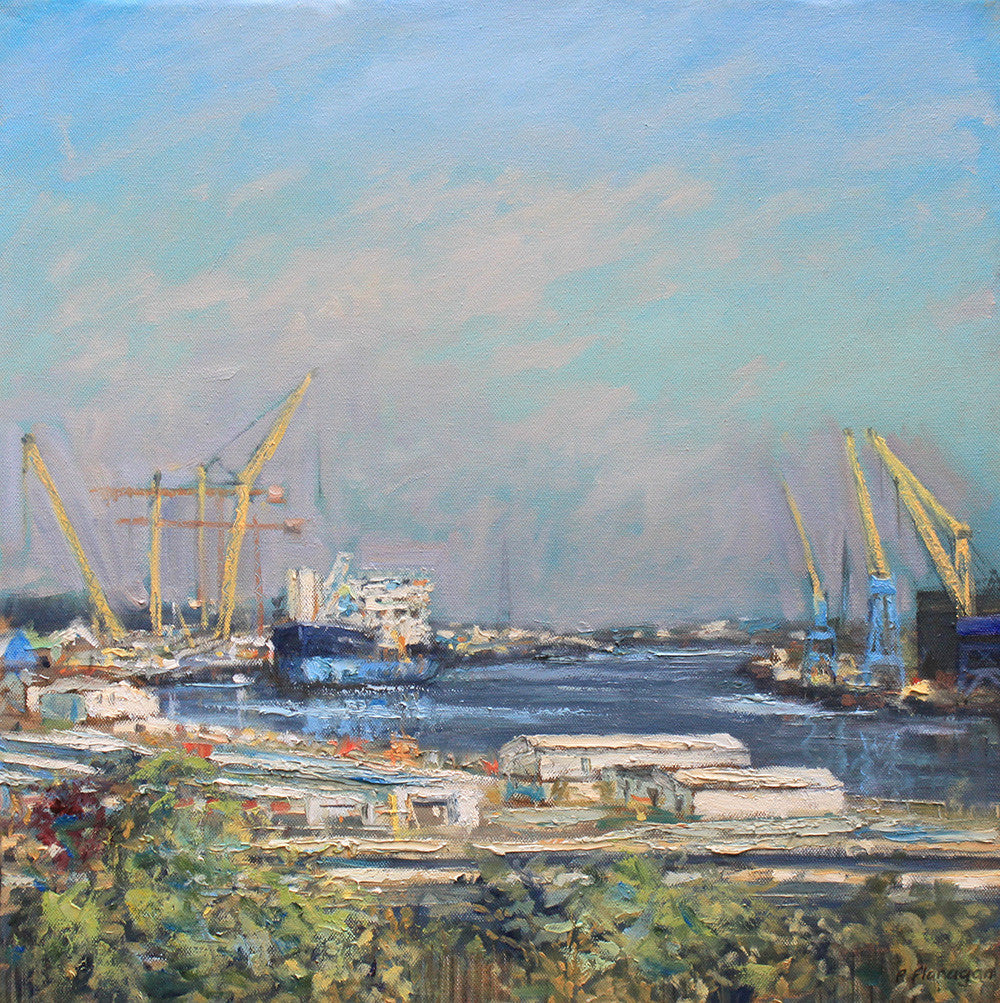 Last Shipyards on the River Tyne. (Print)