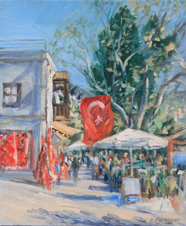 Turkey, Turkish Flag at Kalcan