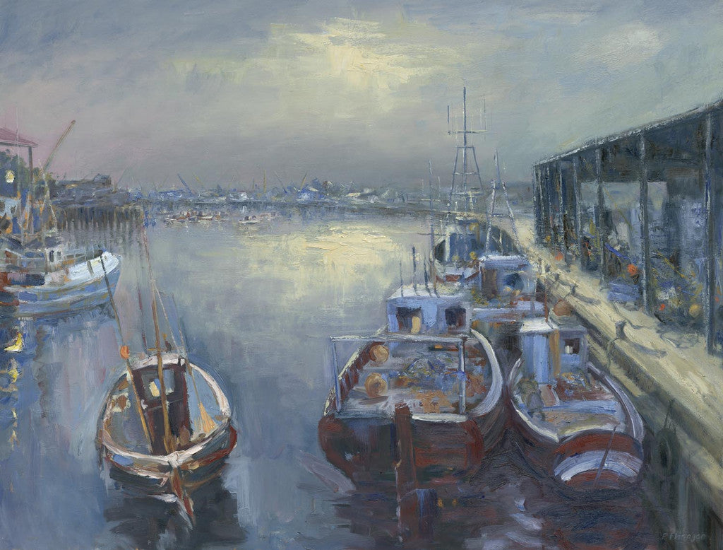 Moored Boats at the Fish Quay. (Print)