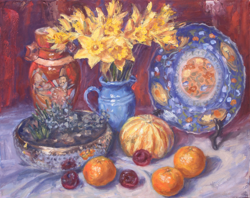 Daffodils with Japanese Vase and Plate