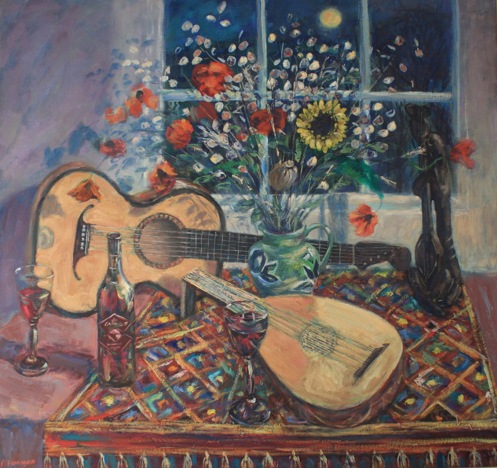 Lute, Guitar and Poppies
