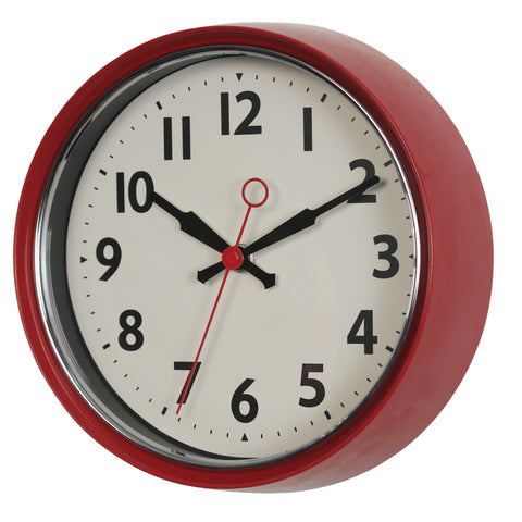 1950s Red Metal Wall Clock