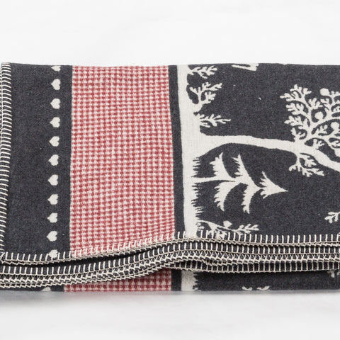 Charcoal Grey Alpine Style Forest Life  Blanket  With Stag and Red Gingham Band