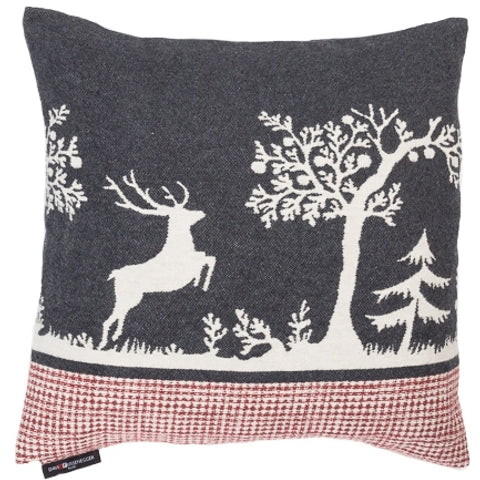 Charcoal Grey Alpine Style Forest Life Cushion With Leaping Stag