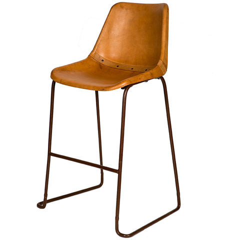 Natural leather wrapped bar stool