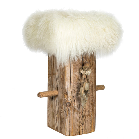 Wooden Bar stool with Tibetan sheepskin cushion