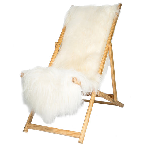 Large  Grey Long Wool Sheepskin Bean Bag