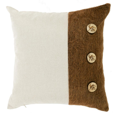 Ribbed Brown Bear Faux Fur Square Cushion