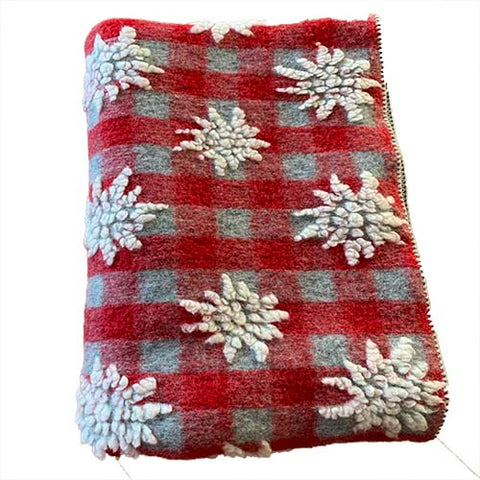 Red And Grey Gingham Throw With Edelweiss Pattern