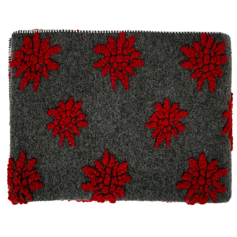 Biella Fabrics  Felted Wool Red and Grey  Edelweiss Throw/Blanket