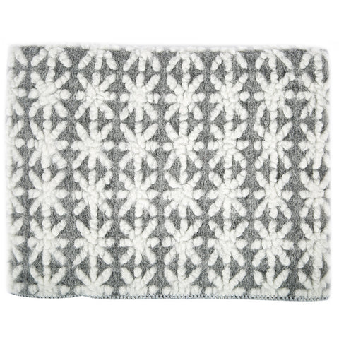 Biella Fabrics Felted Wool Grey And White Snowflake ThrowBlanket Cool Grey And White Throw Blanket