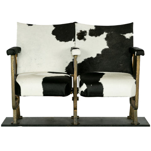 Black And White Cowhide Upholstered  Cinema Seats