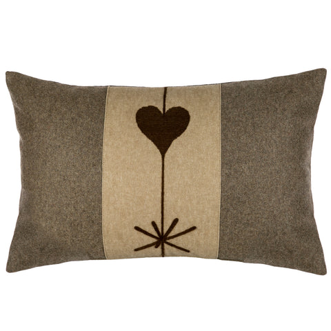 Chalet Brown Heart Cushion With Faux Leather Reverse