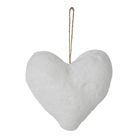 White Faux Fur Heart Decoration