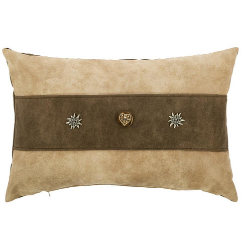 Modern Alpine Style Grey Wool Cushion With Cowhide Cross