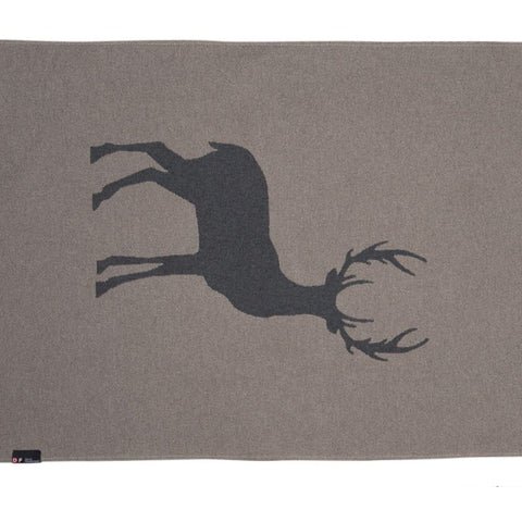 Reversible Blanket With A Silhouette Of Stags And Mountain Backdrop
