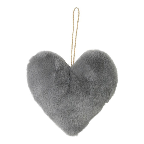 Grey Faux Fur Heart Decoration