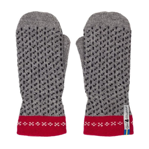 Skafto Grey And Red Swedish Mittens