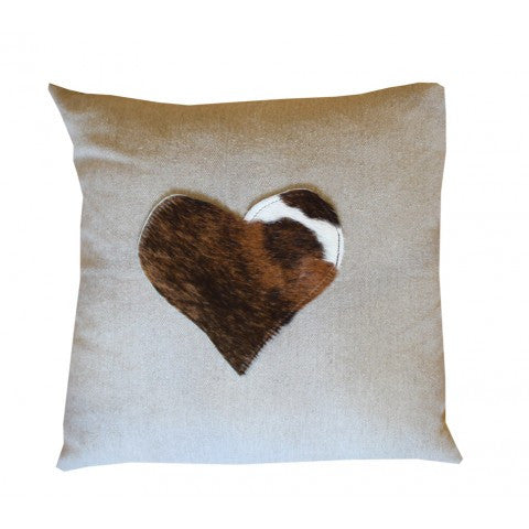 Natural Linen cushion with hide heart