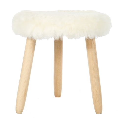 White Short Icelandic Sheepskin Stool With Beech Oval Legs