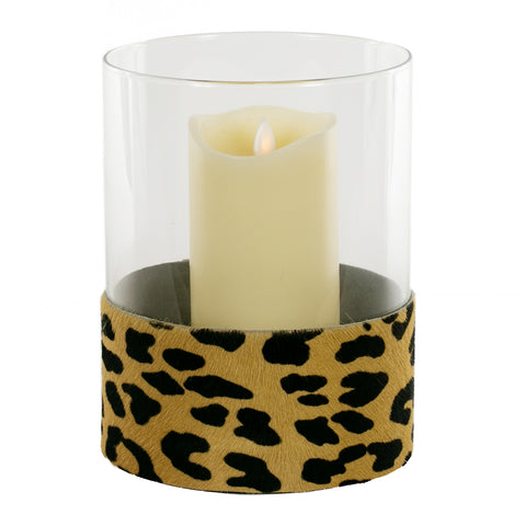 Hurricane Lamp With Cowhide Leopard Printed Band