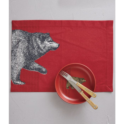 Red Place Mats With Bear Motif