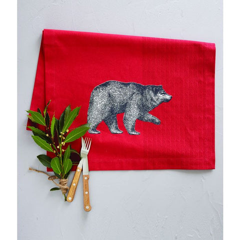 Red Table Runner With Bear Motif