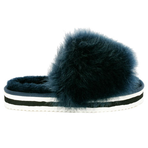 Lilly Sheepskin Sliders in French Navy