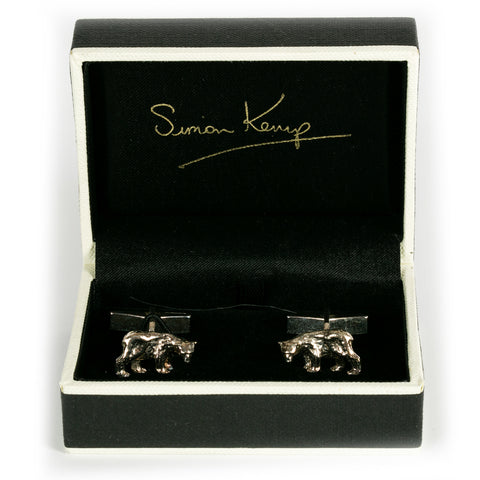 Solid Silver Bear Cufflinks