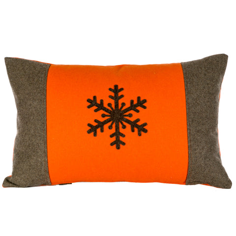 Orange And Brown Snowflake Cushion