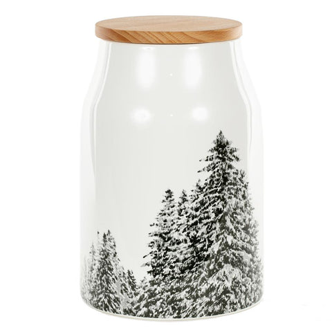 Large  Ceramic Jar With  Fir Trees and Alder lid