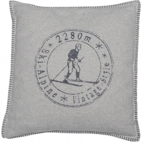 Vintage Skier Cushion In Soft Grey