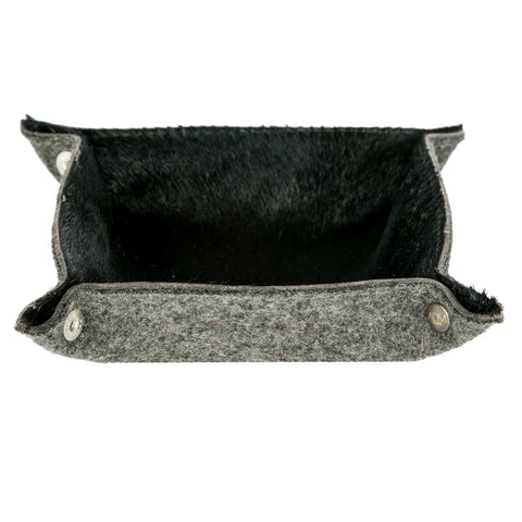 Black Cowhide Vide Poche-Trinket Holder