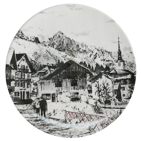 Scenic Snowey  Alpine Mountain side plates in Black and White