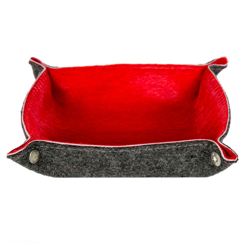 Red Cowhide Vide Poche-Trinket Holders