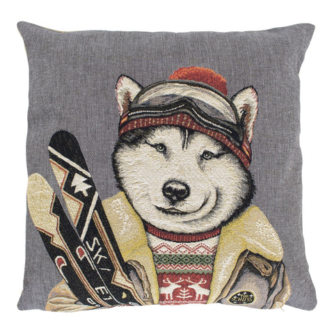 Cushion With Embroidered Husky Skier