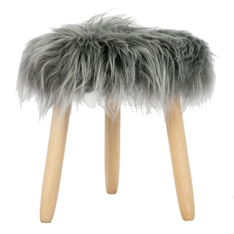 Grey Long Haired  Icelandic Sheepskin Stool With Beech Oval Legs