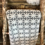 Biella Fabrics  Felted Wool Grey and White Snowflake Throw/Blanket