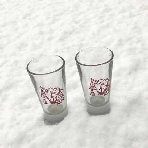 Large Shot Glasses With Red Cable Car Motif
