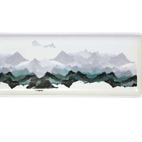 Presentation Plate With Mountain Range Scene