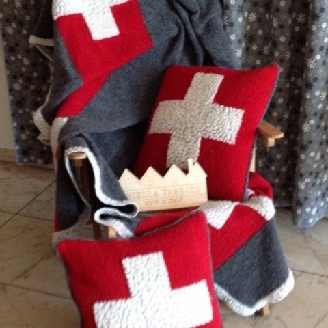 Biella Fabrics  Felted Wool Grey and Red Swiss cross Throw/Blanket