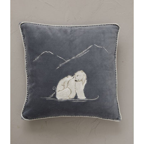 Faux Fur Winter Wolf Heart Cushion