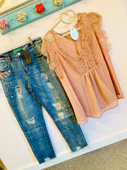 Soft peach lace top